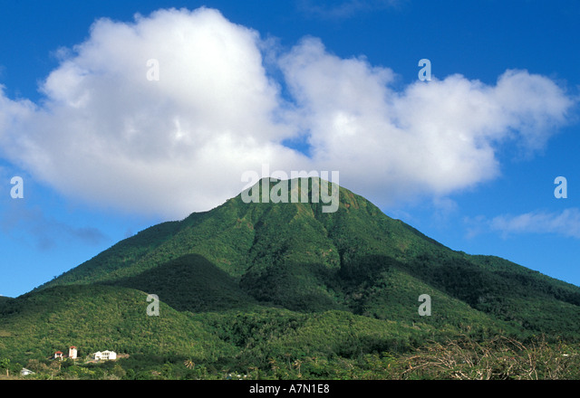 Nevis Mt Nevis peak with clouds at the top - Stock Image