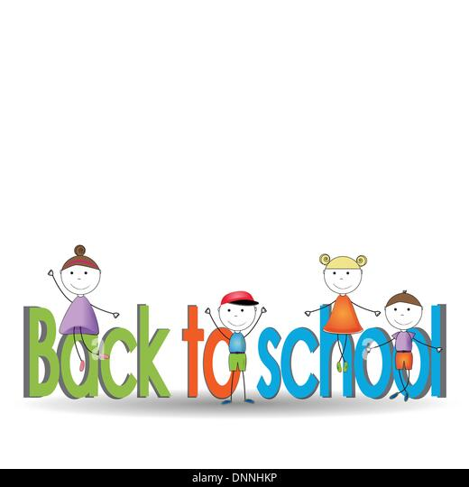 Happy and cute kids back to school - Stock Image