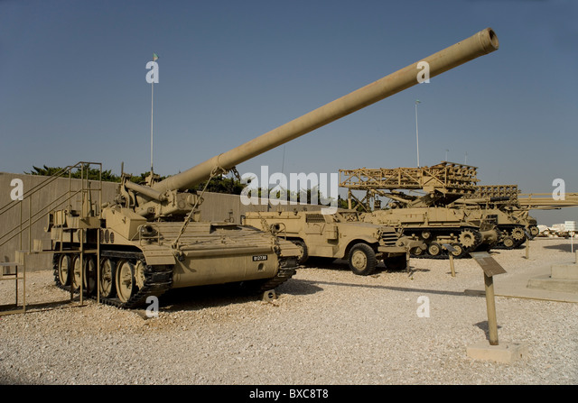 M107 Self Propelled Gun used in the Yom Kippur War by the Israelis at the Israeli Armored Corps Museum at Latrun, - Stock Image