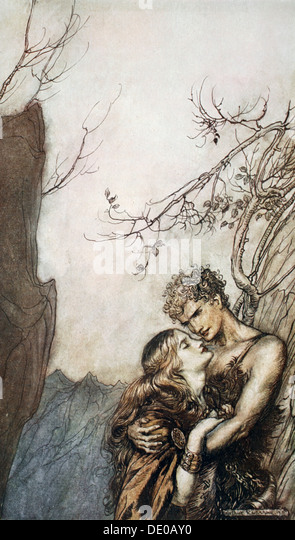 'Brunnhilde throws herself into Siegfried's arms', 1924.  Artist: Arthur Rackham - Stock Image