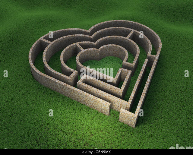 Heart shaped maze - love and relationship concept 3D illustration - Stock-Bilder