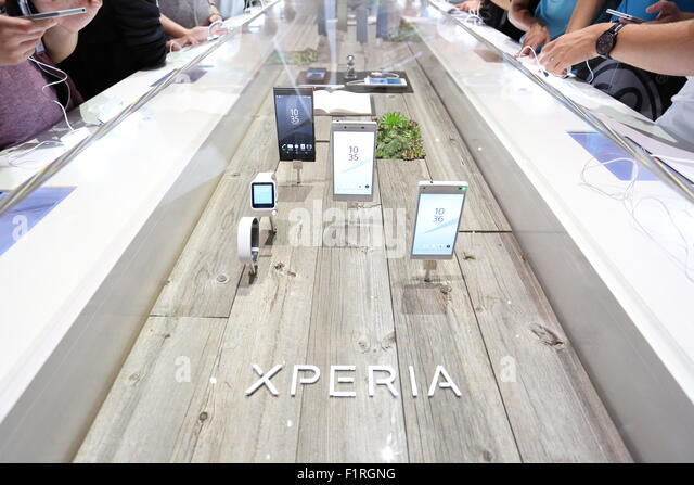 Berlin, Germany. 05th Sep, 2015. Sony presents the company' s recent electronic devices during IFA consumer - Stock Image