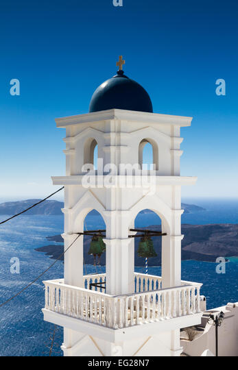 Bell tower of Imerovigli, Santorini, Greece - Stock Image