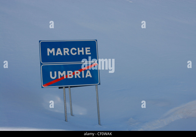 Italian road sign indicating a change of province.. - Stock Image