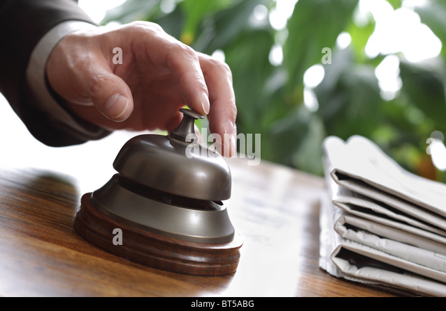 Hotel reception service bell - Stock Image