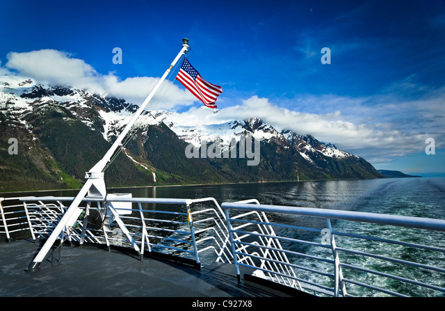 Alaska Marine Highway ferry in Lynn Canal, Inside Passage, Southeast Alaska, Spring - Stock Image