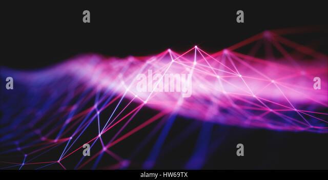 Illuminated purple lines, illustration. - Stock-Bilder