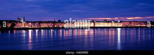 Bordeaux at night, France - Stock Image