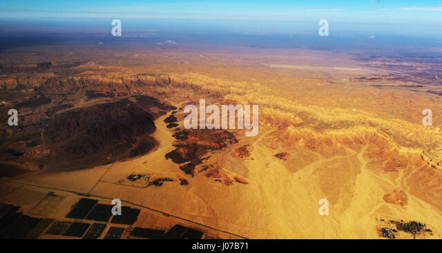 An aerial view of the Israeli Moshav Elifaz and Timna park in the Arava desert in Israel. - Stock Image