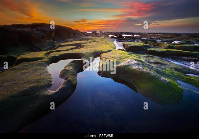 Indonesia, Bali, Mengening Beach, Beautiful rock formation at mengening beach - Stock Image