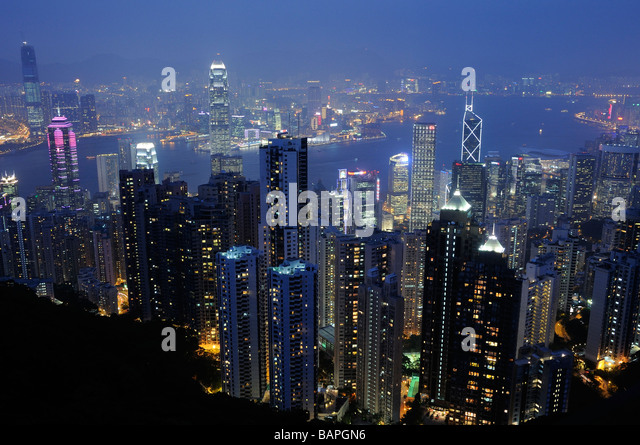 Hong Kong City skyscrapers at night from The Peak - Stock Image