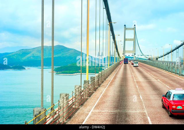 Famous Tsing Ma bridge in Hong Kong - Stock Image