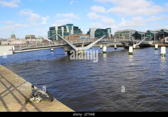Sean O'Casey bridge crossing River Liffey, Dublin Docklands, Ireland, architect Cyril O'Neill and O'Connor - Stock Image