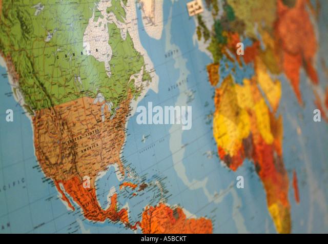 Close-up of world map. - Stock Image