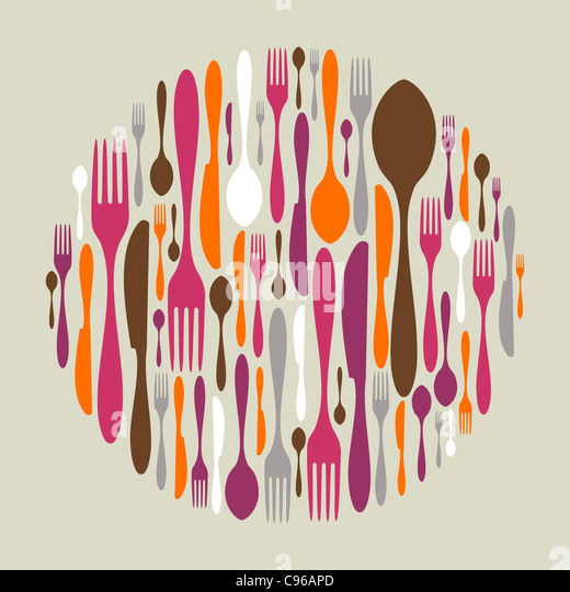 Circle shape made of cutlery icons. Fork, knife and spoon silhouettes. Vector avaliable - Stock Image