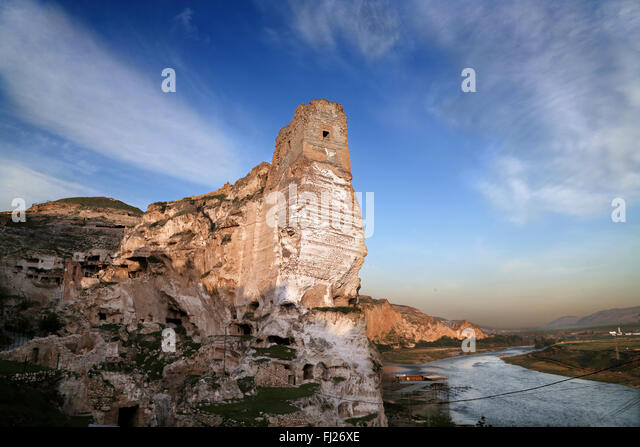 Old antique castle of Hasankey, Eastern Turkey, by sunrise - Stock Image