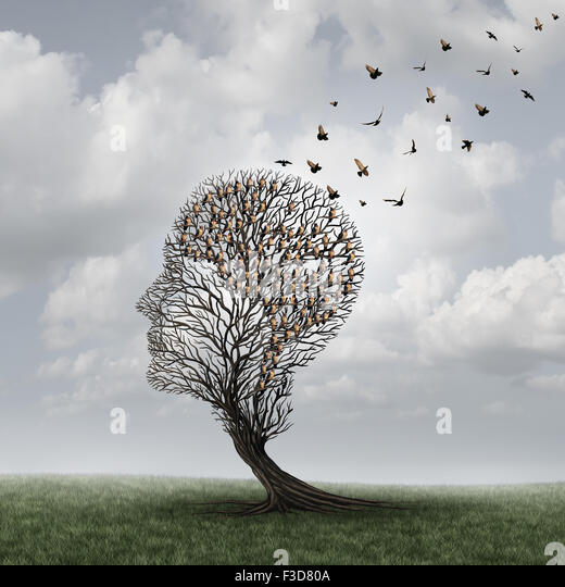 Memory loss concept and Alzheimer patient surreal symbol as a medical mental health care concept with an empty head - Stock-Bilder