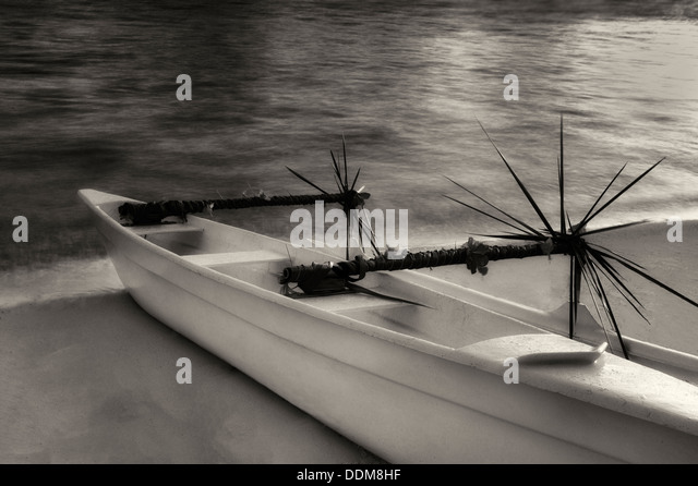 Decorated outrigger canoe. Bora Bora. French Polyenesia - Stock Image