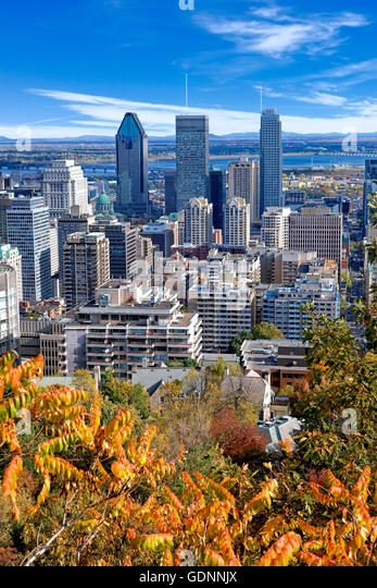 Montreal skyline view from Mount Royal - Stock Image