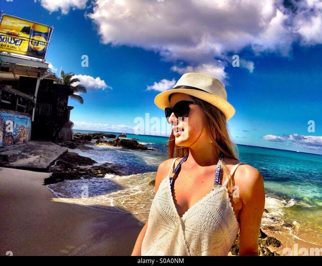 Caribbean lifestyle, Saint Maarten islands - fashion , relaxing, blue ocean - Stock Image