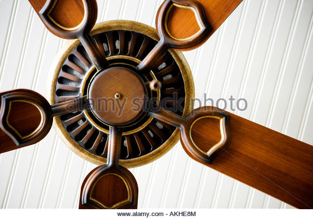 Detail of ceiling fan. - Stock Image