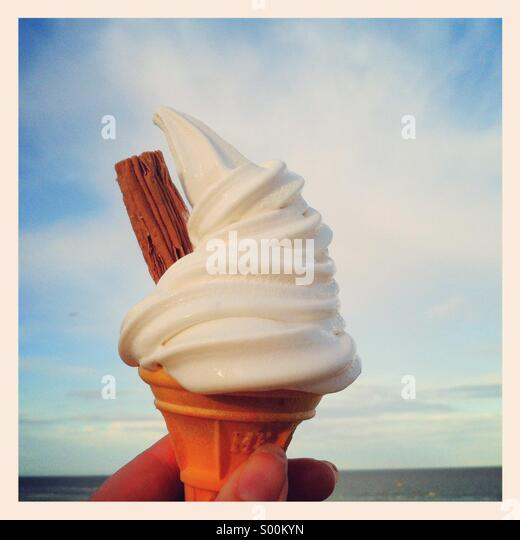 99 ice cream at the seaside - Stock Image