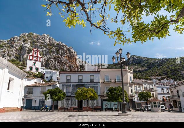 pueblo blanco Grazalema village church - Stock Image