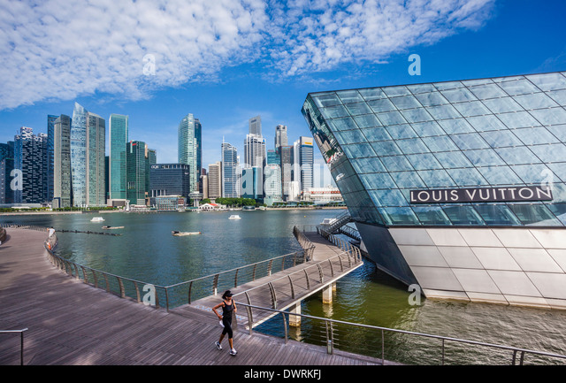 Singapore, Marina Bay, Luis Vuitton at Crystal Pavilion North, Marina Bay Sands - Stock Image