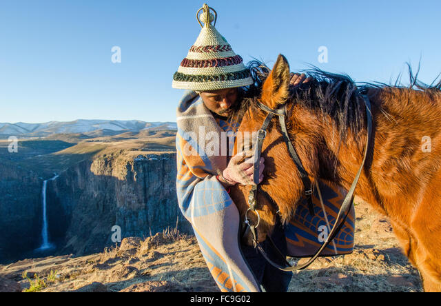Basuto ponies are lovingly cared for by local Sotho tribes who are reliant on these animals to traverse harsh terrain. - Stock Image