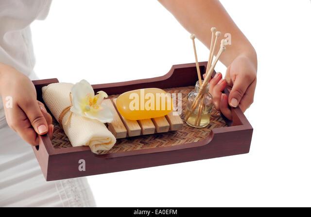 Spa table setting - Stock Image