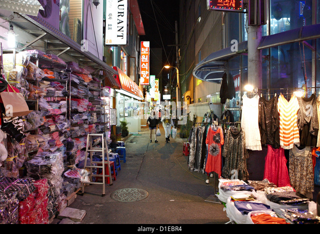 The Dongdaemun shopping district at night, Seoul, South Korea, Asia - Stock Image