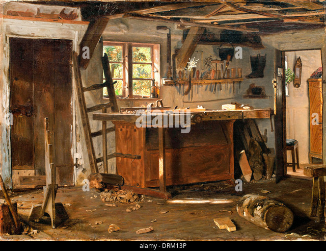 Christen Dalsgaard, A Carpenter's Workshop 1855 Oil on canvas. The Hirschsprung Collection. - Stock-Bilder