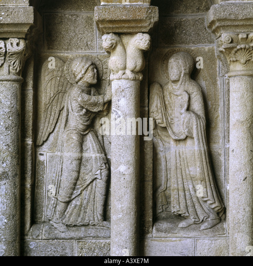 geography/travel, France, Ydes, churches and convents, Saint George church, interior view, entrance hall, relief, - Stock Image