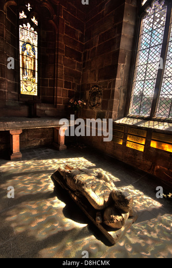 Warburton Chapel John Warburton, St Marys Church crusader statue in small chapel, GT Budworth Cheshire England UK - Stock Image