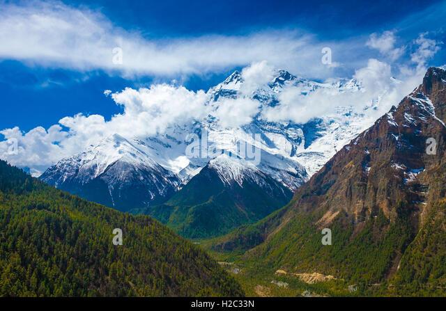 Landscape Snow Mountains Nature Viewpoint.Mountain Trekking Landscapes Background. Nobody photo.Asia Travel Horizontal - Stock Image
