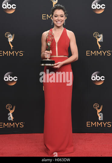 LOS ANGELES, CA - SEPTEMBER 18:  Tatiana Maslany in the press room at the 68th Emmy Awards at the Microsoft Theater - Stock-Bilder