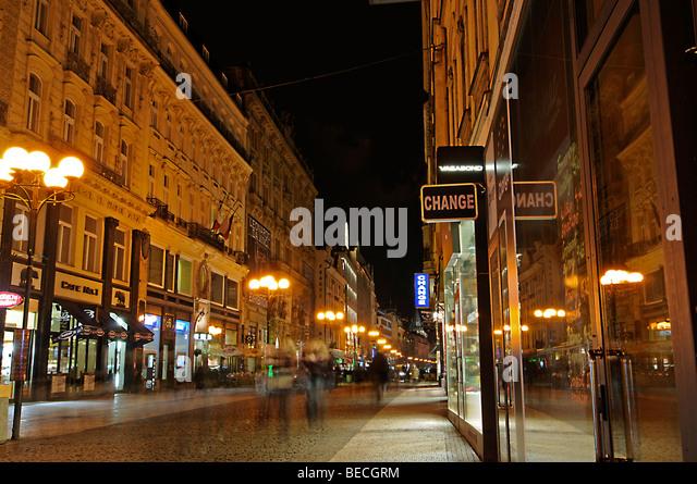 Shopping area, Prague, Czech Republic, Europe - Stock Image