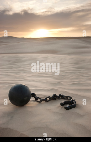 USA, Utah, Little Sahara, ball in chain on desert - Stock Image
