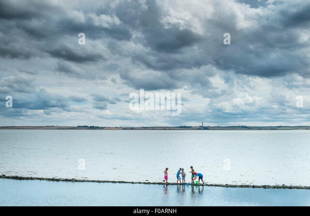 Canvey island - Children exploring on the foreshore at Canvey Island, Essex. - Stock Image