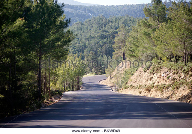 Greek nice new road highway paid for by EEC - Greece - Stock Image