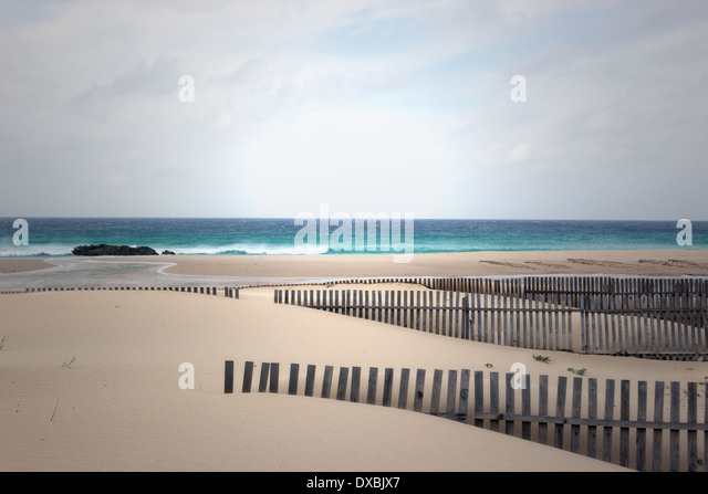 Tarifa, Cadiz Province, Costa de la Luz, Andalusia, Spain. Wooden fencing on windswept beach and atlantic ocean. - Stock Image