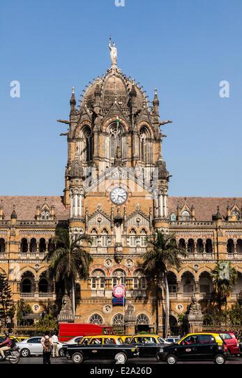 India, Maharashtra state, Mumbai, Chhatrapati Shivaji railway station (Victoria terminus), listed as World Heritage - Stock Image