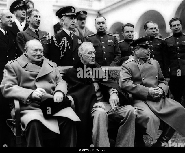 WINSTON CHURCHILL Franklin D. Roosevelt & JOSEPH STALIN THE BIG THREE 11 February 1945 LIVADA PALACE - Stock-Bilder