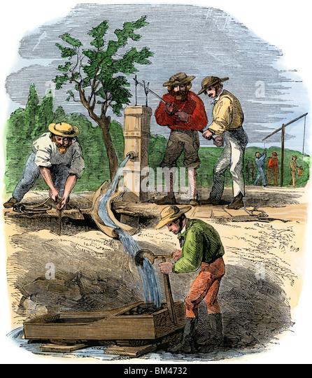Australian gold prospectors working a river-bed claim on the Turon, 1850s - Stock-Bilder