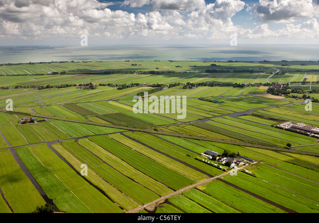 The Netherlands, near Purmerend, Aerial of polder landscapes and farms. - Stock-Bilder