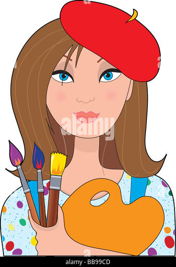 A young female caucasian artist holding a palette and brushes - Stock Image