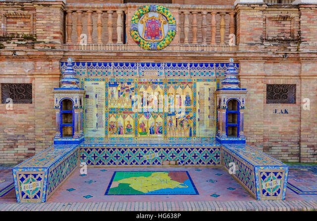 Glazed tiles bench of spanish province of Murcia at Plaza de Espana, Seville, Spain - Stock Image