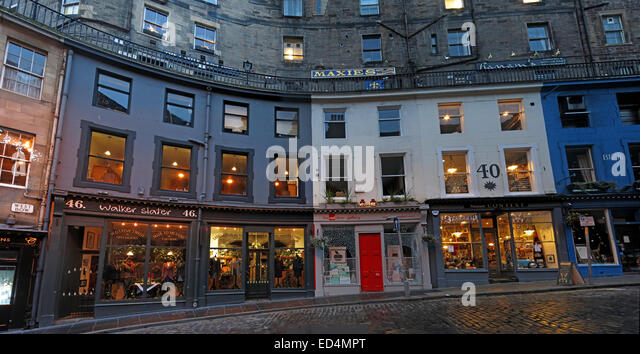 Edinburgh's Historic Victoria St Panorama, City Centre, Lothian, Scotland, UK - Stock Image