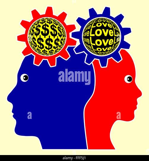 Love versus Money - Stock Image