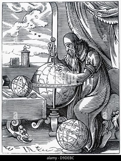 The Astronomer: sixteenth century woodcut. - Stock Image
